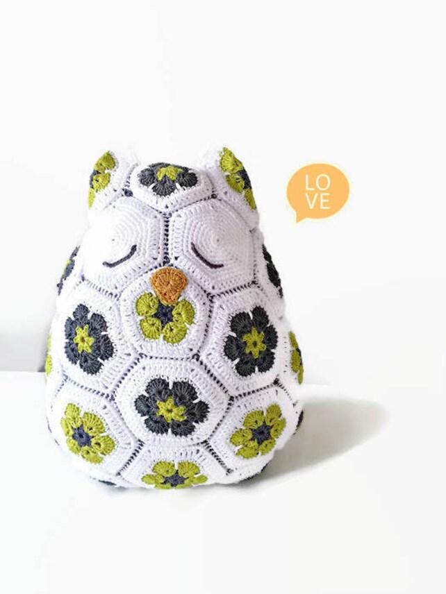Amigurumi gigante búho patrón Floral Crochet búho almohada | Etsy
