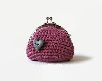 Rosa häkeln Geldbörse, häkeln Rosa Vintage Geldbörse, Gehäkelte Handtasche Geschenk für sie, Geschenk für Freundin, Kollegin Geschenk, romantisches Geschenk