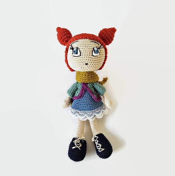Roten Haaren Puppe Blaue Augen Amigurumi Puppe Japanische Etsy
