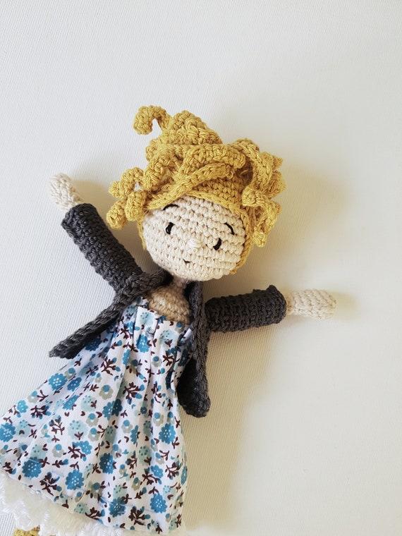 Häkeln Amigurumi Puppe Mit Geblümten Kleid Lockige Blonde Etsy