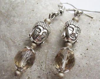 Buddha earrings with glass beads