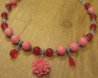 Romantic candy colored  short flower necklace