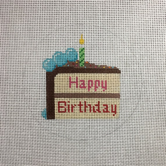 Hand Painted Happy Birthday Cake Slice Canvas By Etsy