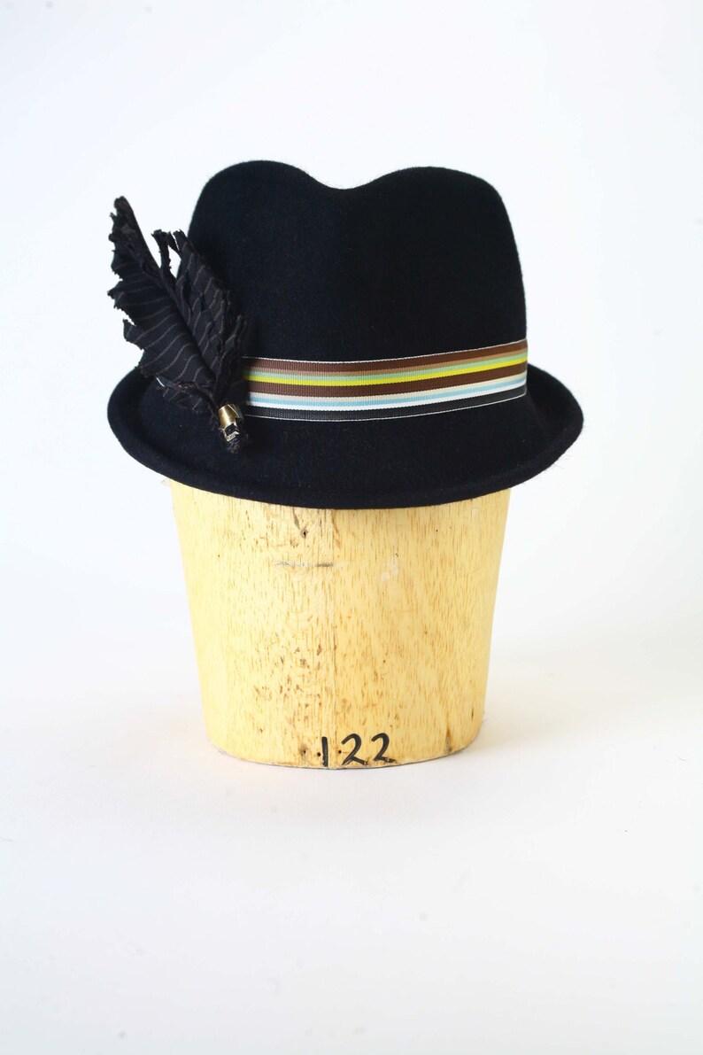 d33e74692 Black fur felt fedora winter men's hat, striped grosgrain ribbon, cotton  handmade striped feather, brass quill detail Millinery/Men Fedora