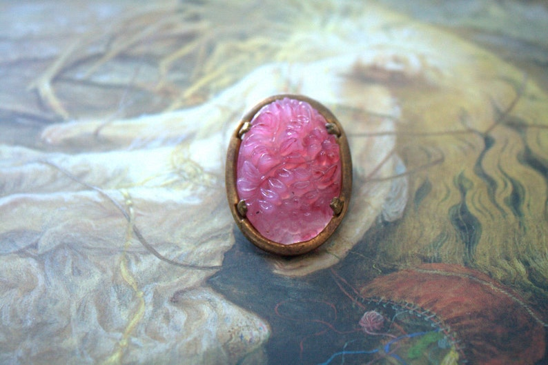 REF 228 Vintage Old Brass Carved Floral Glass UPCYCLED Pin Brooch