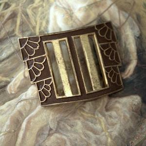 Vintage SUPERB Art Deco Original Brass Cold Paint Enamel Buckle Blacher Bros REF 259
