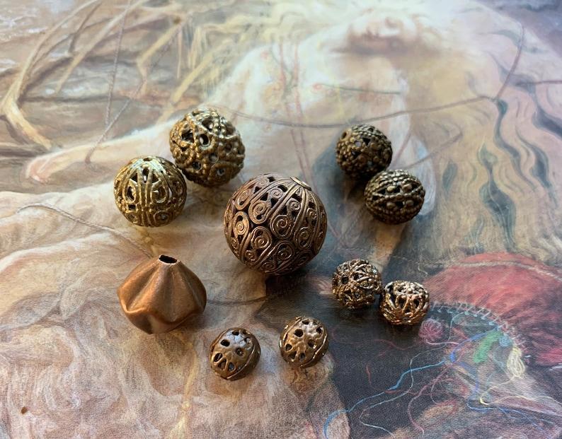 10 pc Lot of Vintage Unusual Old Brass Art Deco Filigree Beads Findings Stampings REF 291