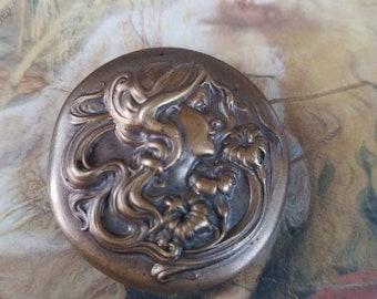 Vintage Brass Art Nouveau Revival Woman Magnet