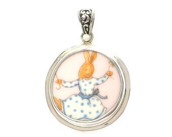 Broken China Jewelry Bunnykins Dancing Bunny Rabbit Sterling Circle Pendant
