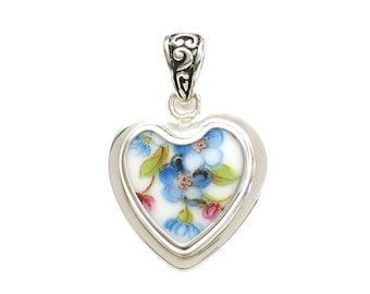 Broken China Jewelry Vintage Forget-Me-Not Flowers C Sterling Heart Pendant