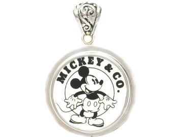 Broken China Jewelry Vintage Mickey Mouse Logo Sterling Pendant