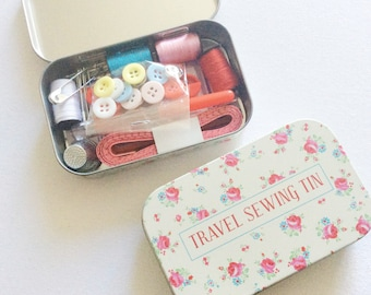 Travel Sewing Kit. Small Sewing Tin. Stitching Tools. Small Gift For Mom. Collage Student Gift, Stocking filler.