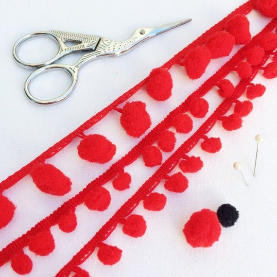 1cm Diameter 3 Metres Pom Pom Trim Sewing /& Craft Projects 12 Colours to Choose from Red