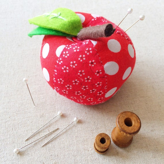 Apple pin cushion (with optional strawberry). Perfect gift for sewists