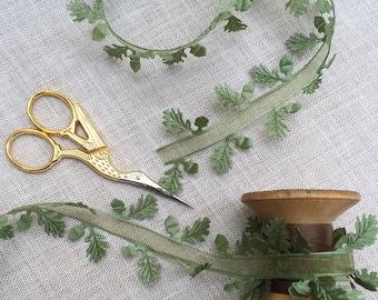 Oak Leaf Ribbon. Wedding Ribbon. Sheer Center Leaf Ribbon. Botanical Ribbon - woodland craft.