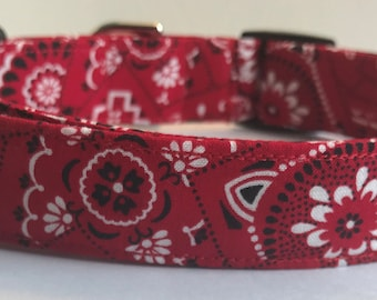 Red Bandanna Dog Collar Size XS, S, M or L