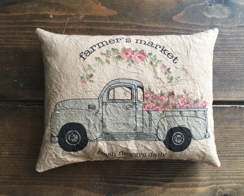 farmers market with flowers blue truck feed sack accent pillow image 0