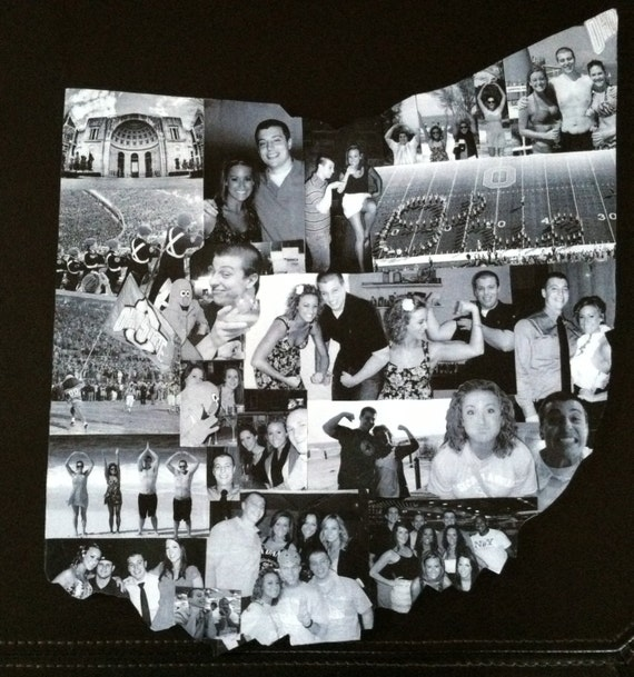 Custom Photo Collage Shape Ohio State Buckeyes Etsy