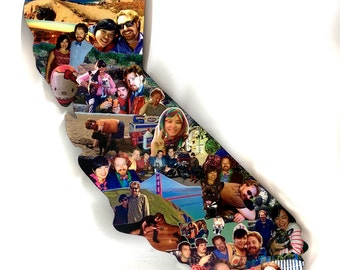 Custom Color Photo Collage, California Collage, Birthday Photo Gift, Vacation Photo Collage, Honeymoon Photo Display, Shapes Collage