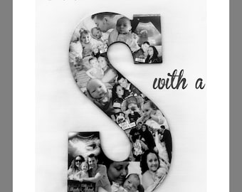 Custom Photo Collage Letter, Ultrasound photos, Family Photo Collage, Alphabet Collage