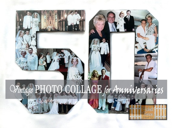 Photo Collage 50th Birthday Photo Collage Photo Numbers For Etsy