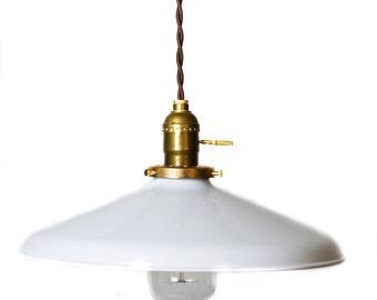 """Industrial Gloss White 12"""" Porcelain Enamel Shade Edison Pendant Light ( antique brass or chrome )"""