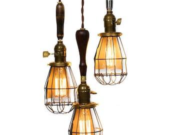 3 Light Caged Vintage Handle Trouble Light Chandelier