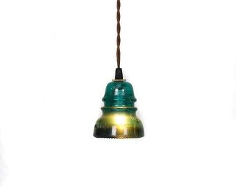 ON SALE - Vintage Repurposed Railroad Telegraph Insulator Pendant Light ( Green or Clear )