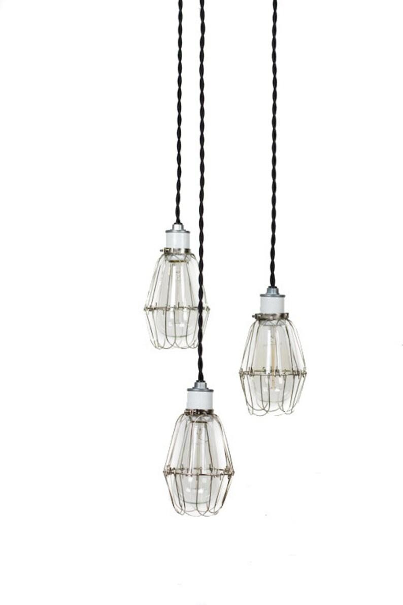 Modern Industrial Porcelain Socket Silver Caged 3 Light Chandelier
