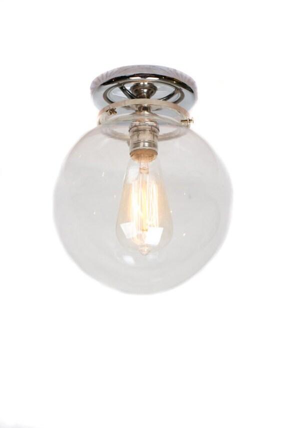 Flush Mount Chrome 8 Glass Globe Edison Light Etsy