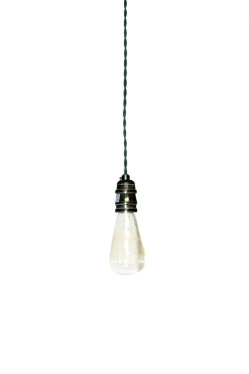 Simply Modern bare bulb 1900's antique socket Pendant light in Black