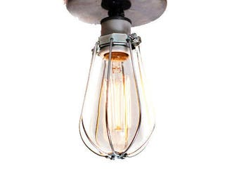 Silver Wire Closed Cage Wall Scone / Ceiling Flush Mount Light - Modern Industrial Style Fixture - Multiple Plate finishes available