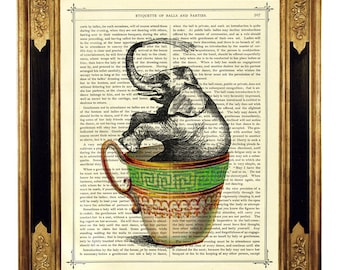 Elephant bathing in Teacup Dictionary Poster Print - Vintage Victorian Book Page Art Print Steampunk Nursery