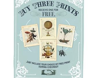 DISCOUNT SET - Any 4 prints - Vintage Victorian Steampunk Book Page Art Prints