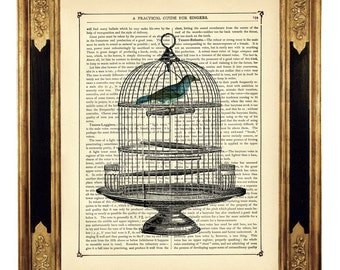 Blue Bird Dictionary Art Birdcage III Poster Country Home Gift - Vintage Victorian Book Page Art Print Steampunk