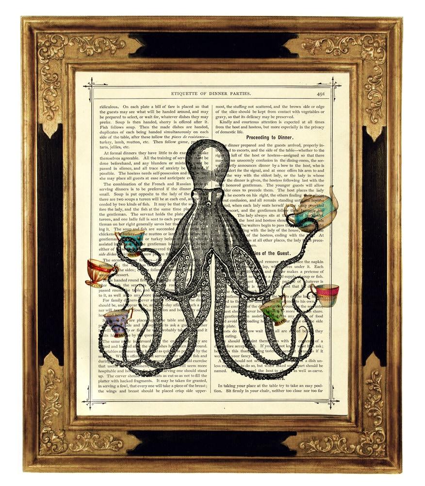 Oktopus Kraken Kunstdruck Teeparty Teetassen Küche Poster | Etsy
