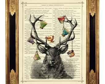 Deer Stag Art Print Antlers cracked Teacups Hannibal - Vintage Victorian Book Page Art Print Steampunk Gothic Halloween Poster