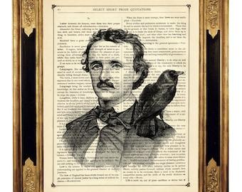 Edgar Allan Poe Art Portrait Raven Crow Nevermore Gothic Halloween - Vintage Victorian Book Page Art Print Steampunk