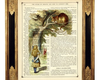 Alice in Wonderland Art Print grinning Cheshire Cat color - Vintage Victorian Book Page Art Print Steampunk Dictionary Art Nursery