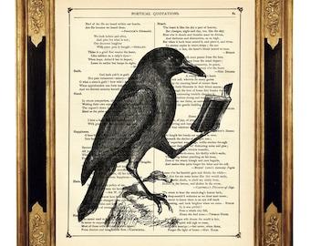Raven Crow reading book Bird Dictionary Art Halloween  - Vintage Victorian Book Page Art Print Steampunk