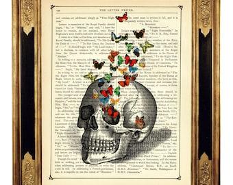 Human Skull Art Print Butterflies Bones Anatomy Butterfly Steampunk Gothic Halloween - Vintage Victorian Book Page Art Print Poster