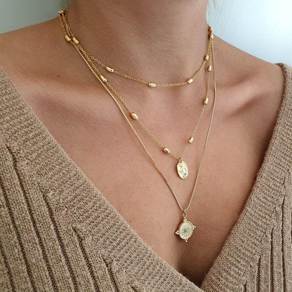 Long Delicate Necklace Long Gemstone Necklace Long Necklace Gemstone Necklace Layering Necklace Gold Necklace Dainty Gold Necklace