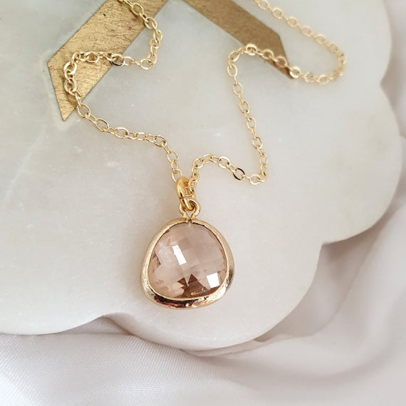 Minimal Gold Pendant Necklace - Pink Stone Pendant Necklace, Simple Everyday Necklace