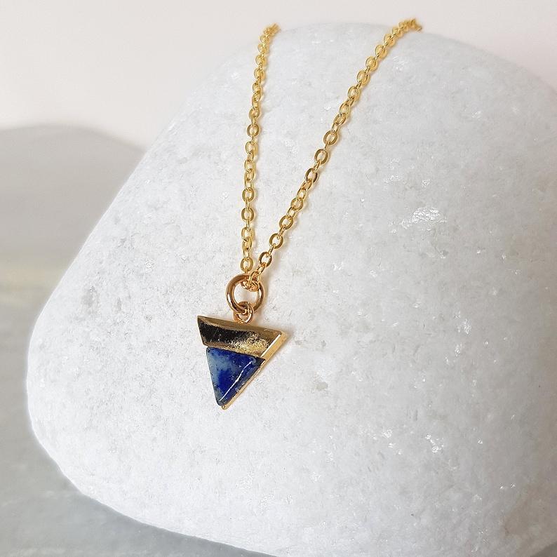 Set of 4 Layered Necklaces Lapis Lazuli Necklace Dainty Gold Gemstone Necklace