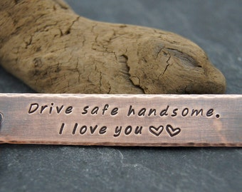 Rustic Gift for Husband or Boyfriend | FAST SHIPPING | Rustic Copper Keychain | Choose your message | Gift for Son, New Car, Graduation |