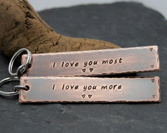 Personalized Anniversary Gift for Husband, Boyfriend, Wife, Girlfriend, Fiancé | FAST SHIPPING | I love you so much | Rustic Keychains