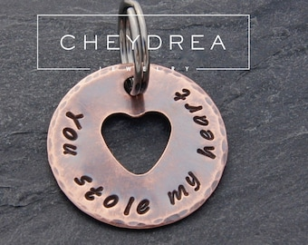 Anniversary Gift for Husband, Boyfriend, Girlfriend or Partner | Rustic Keychain | You Stole my Heart | I love you | I love us | Fast Ship