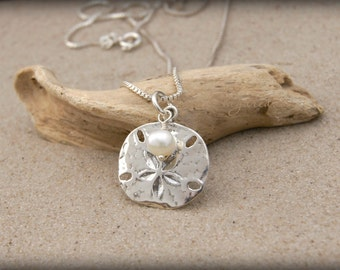 BEACH JEWELRY, Sterling Silver Sand Dollar Necklace |  Beach Girl Necklace | Sand Dollar Jewelry | Fast Shipping | Beach Wedding Necklace