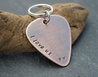 Anniversary Gift for Him or Her | I Love Us Guitar Pick Keychain for Husband, Boyfriend, Girlfriend, Wife | I love you Gift | Fast Shipping