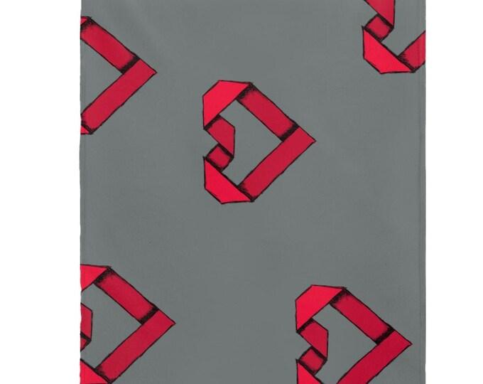 Paper Origami Heart Velveteen Plush Blanket - More ART | More Heart Studio
